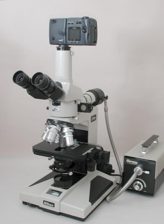 Nikon Optiphot Nomarski Differential Interference Contrast Microscope, Bright-field & Dark-field Reflected, Bright-field Transmitted Light, Nikon Digital Camera, Four Nikon BD Plan Differential Interference Contrast Objectives